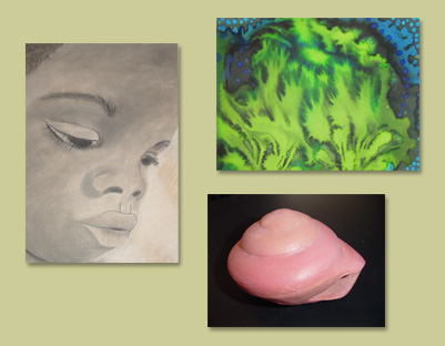 clockwise from left: charcoal portrait by A Blanchette; abstract watercolor by L Norman; ceramic sculpture by W Tokuno